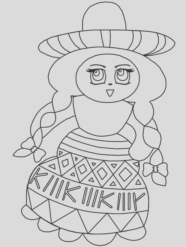 beautiful mexican girl at mexican fiesta coloring page