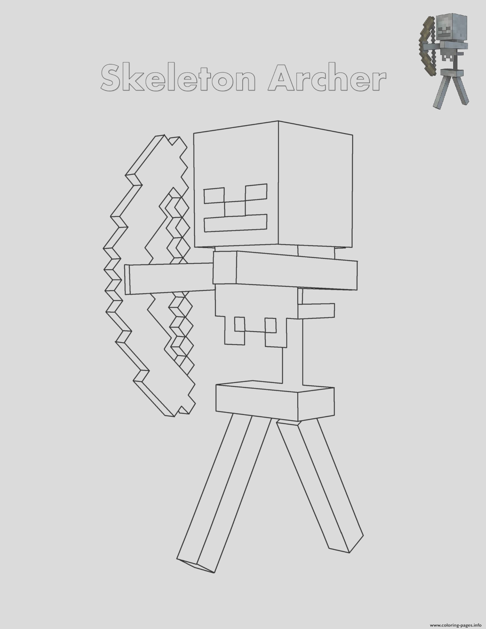 skeleton archer minecraft printable coloring pages book
