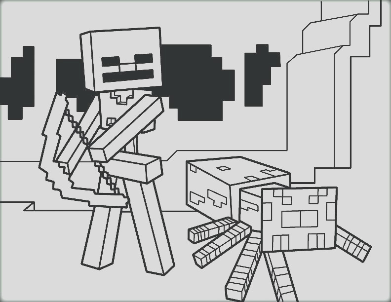 Skeleton coloring minecraft steve