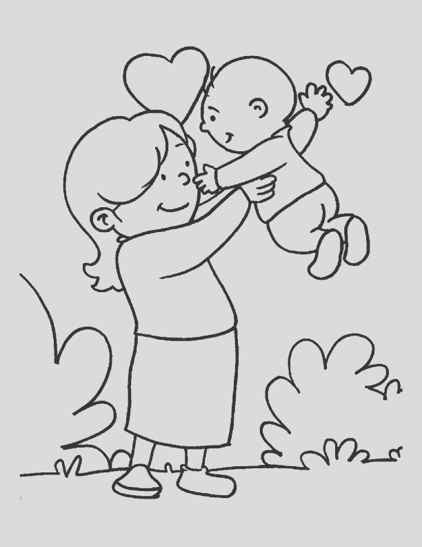 in the loving care of her mom coloring page 1d1737