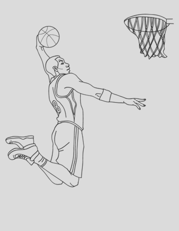 nba player slam dunk coloring page 2