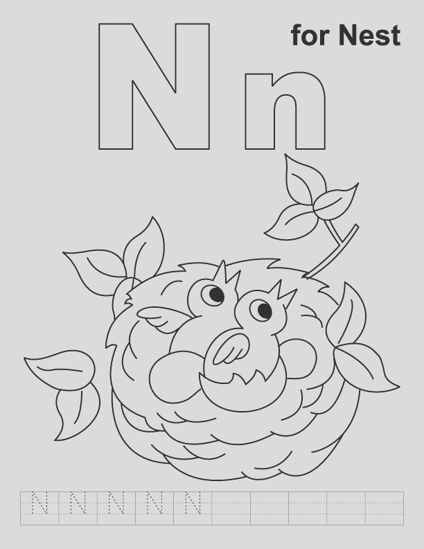 n for nest coloring page with handwriting practice 1d2402