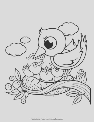 baby birds in nest coloring pages