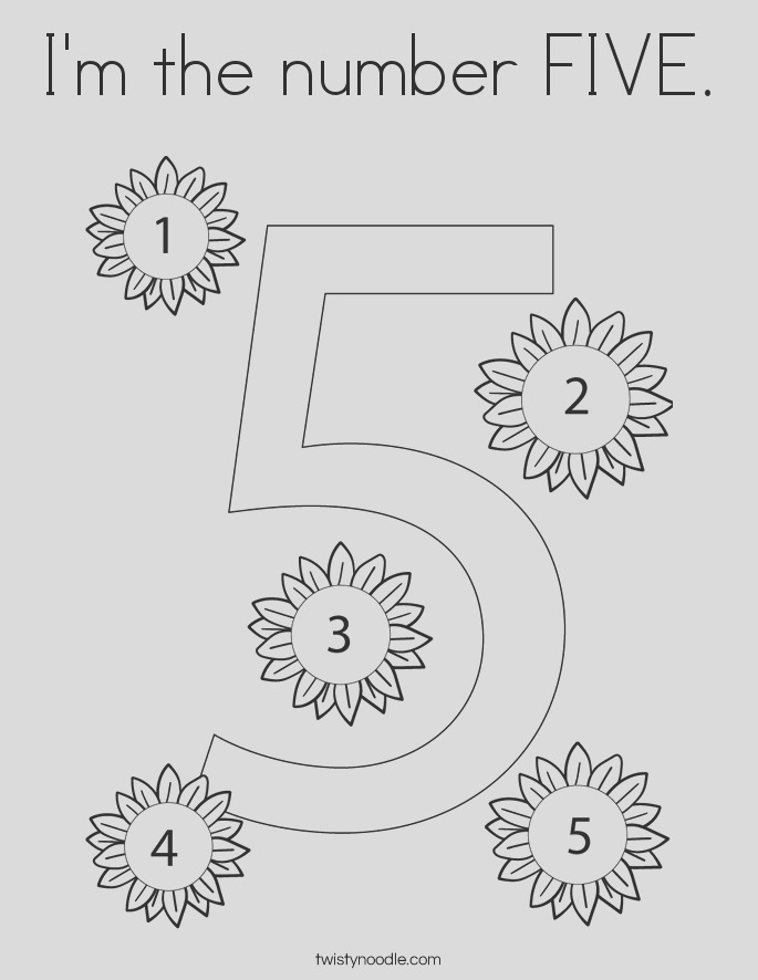 im the number five coloring page