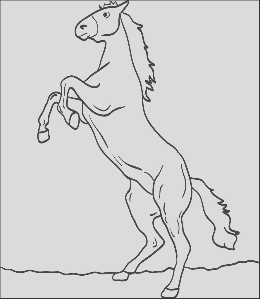 coloring page of a big horse bucking up in the air a4261