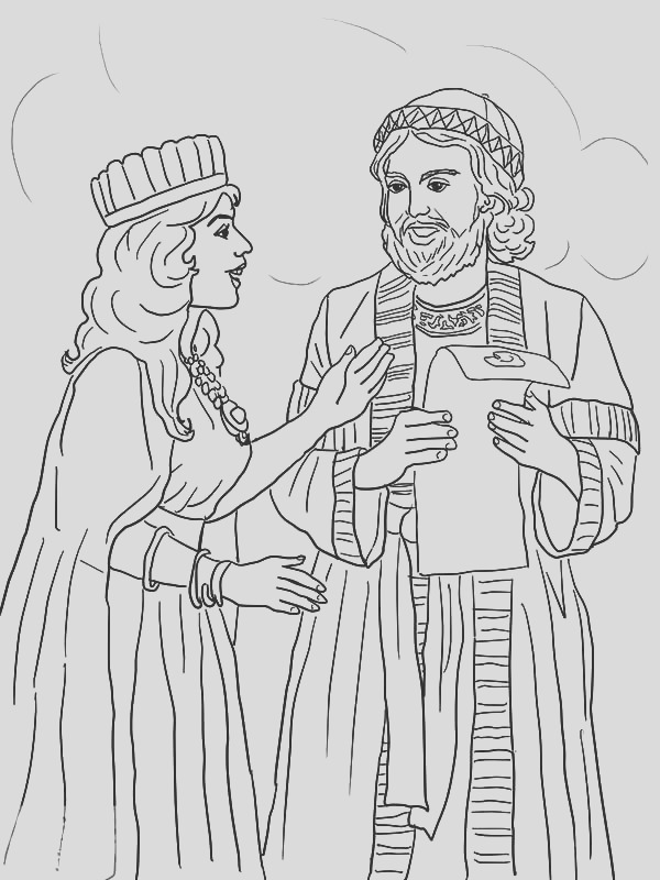 queen esther and mordecai with kings edict coloring pages
