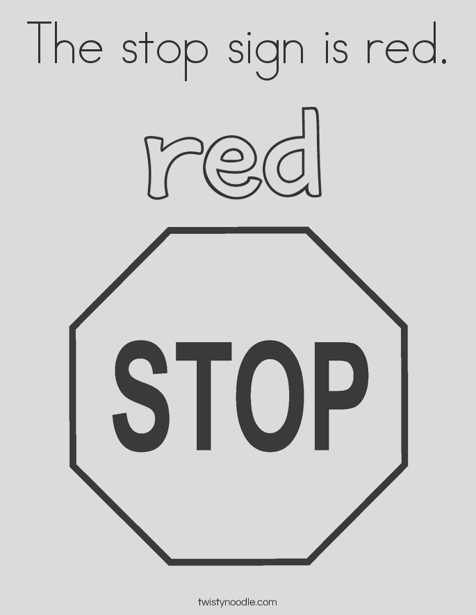 the stop sign is red 5 coloring page