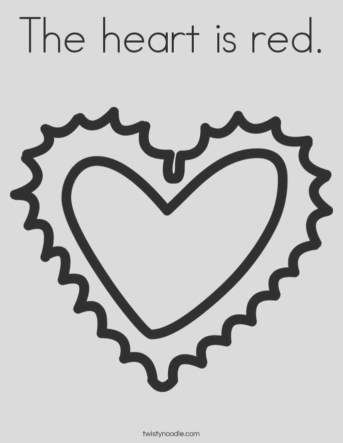 the heart is red coloring page
