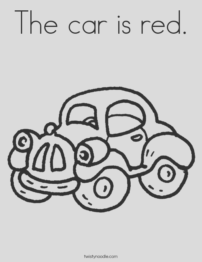 the car is red coloring page