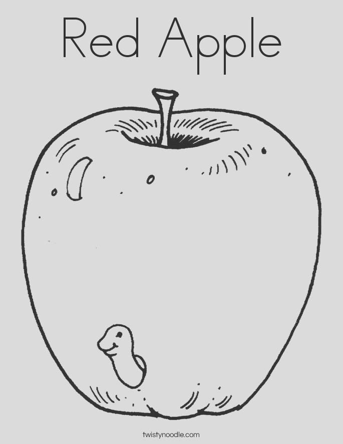 red apple 3 coloring page