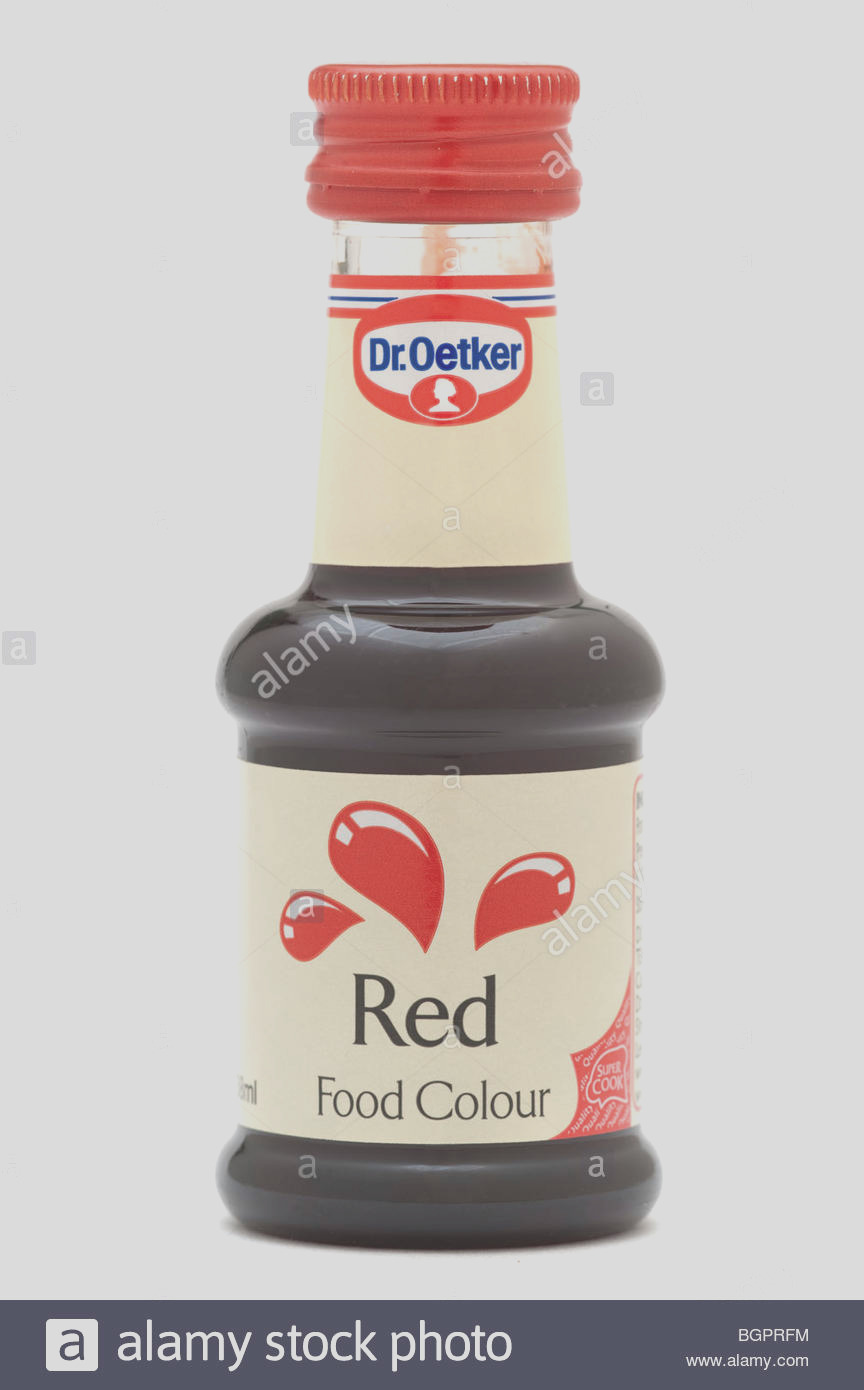 stock photo bottle of dr oetker red food colour dye