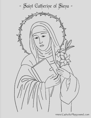 coloring page for april 25th saint catherine of siena