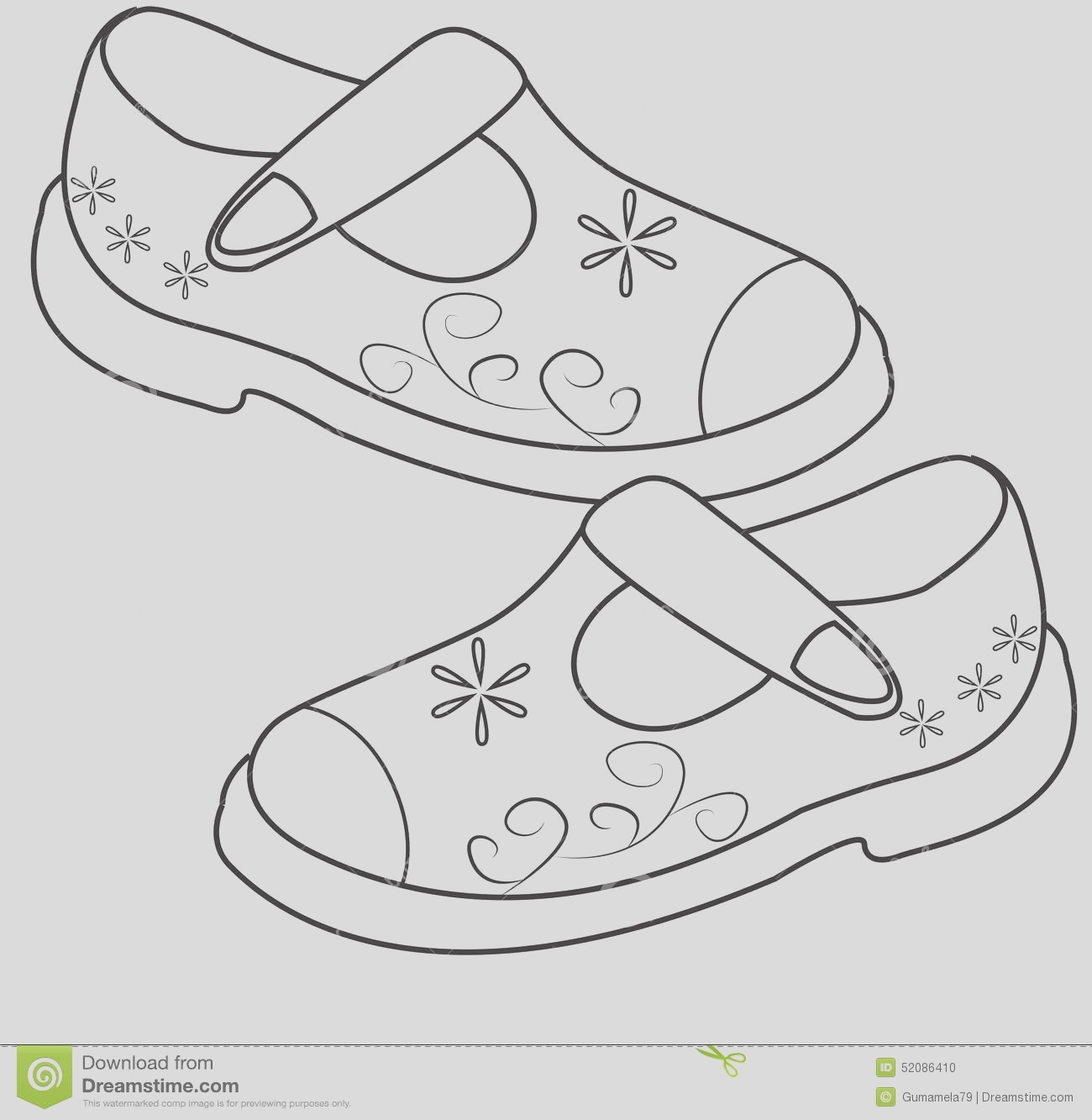 stock illustration shoes girls coloring page useful as book kids image
