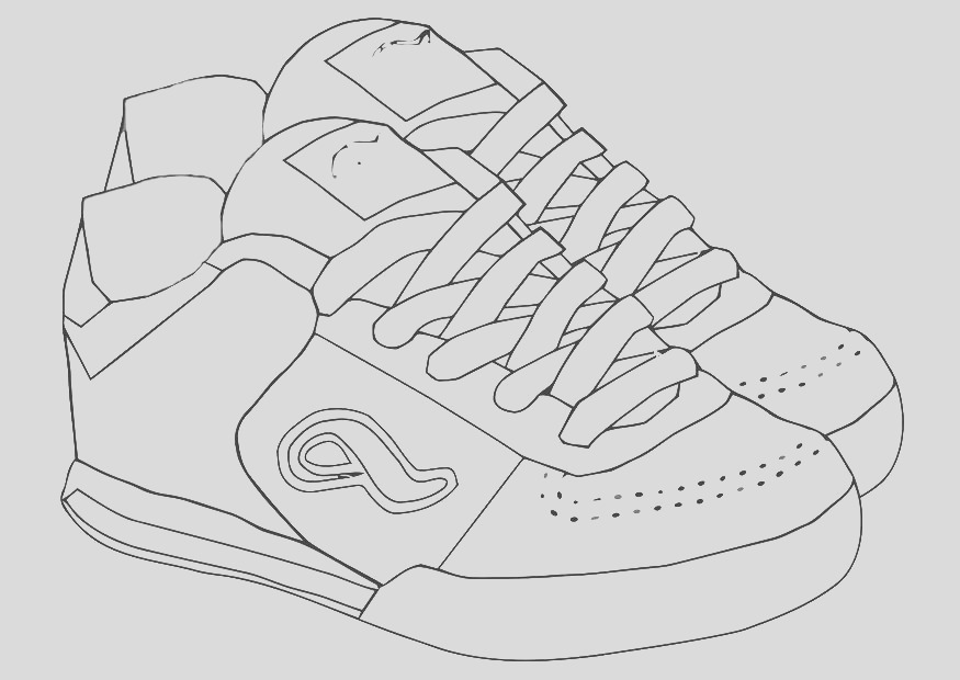sporty training shoes colouring pages