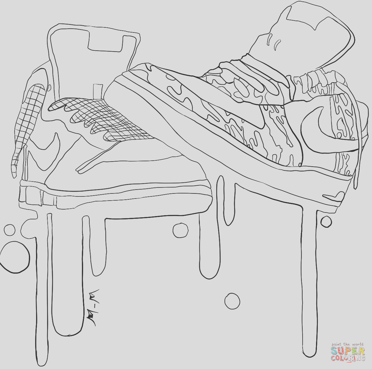 jordan shoe coloring pages
