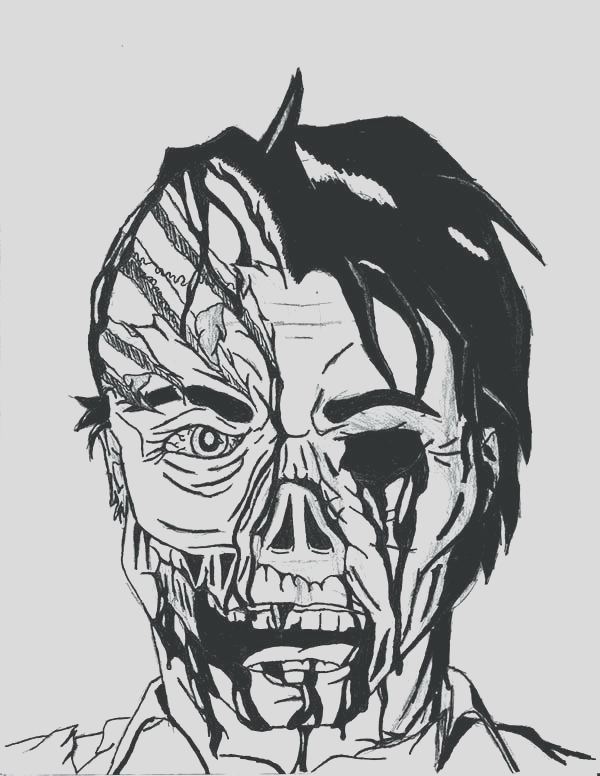 scary faces drawing