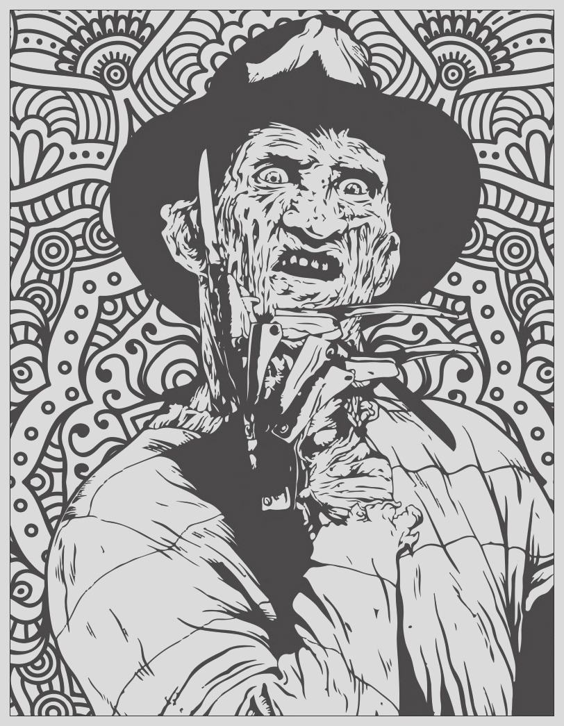 halloween adult coloring pages image=events halloween horror coloring page freddy krueger 1