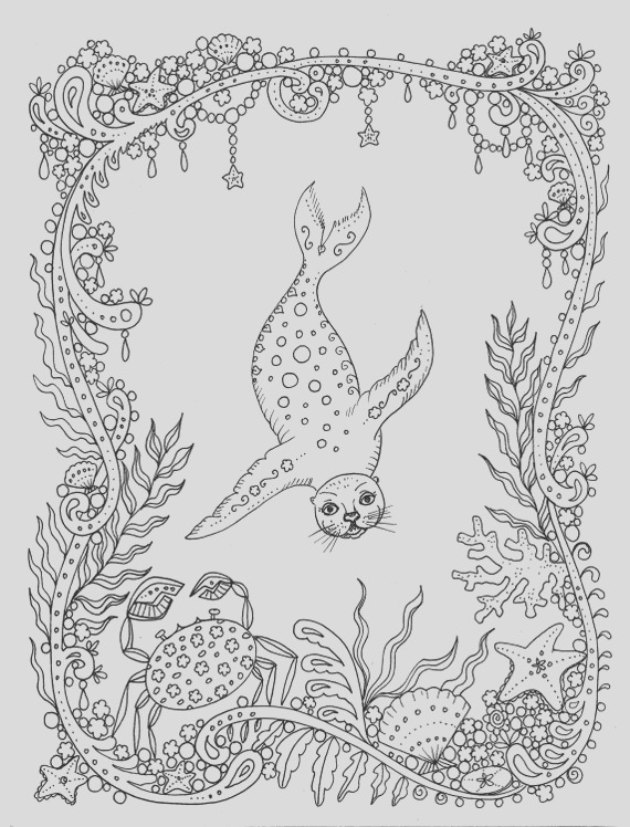 coloring page fantasy seal you