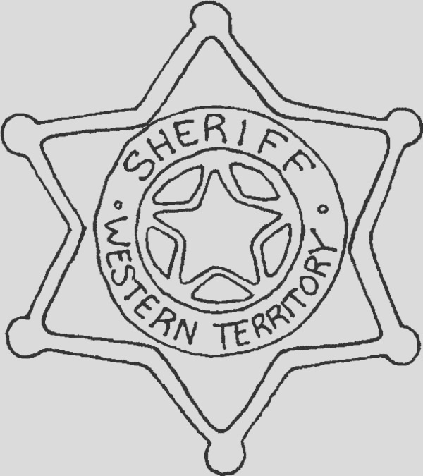 six point star sheriff badge coloring page