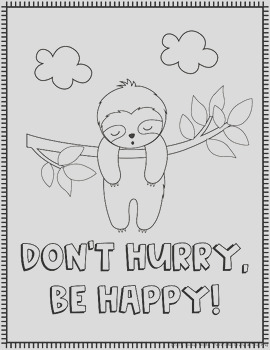 Sloth Coloring Pages with Motivational Quotes