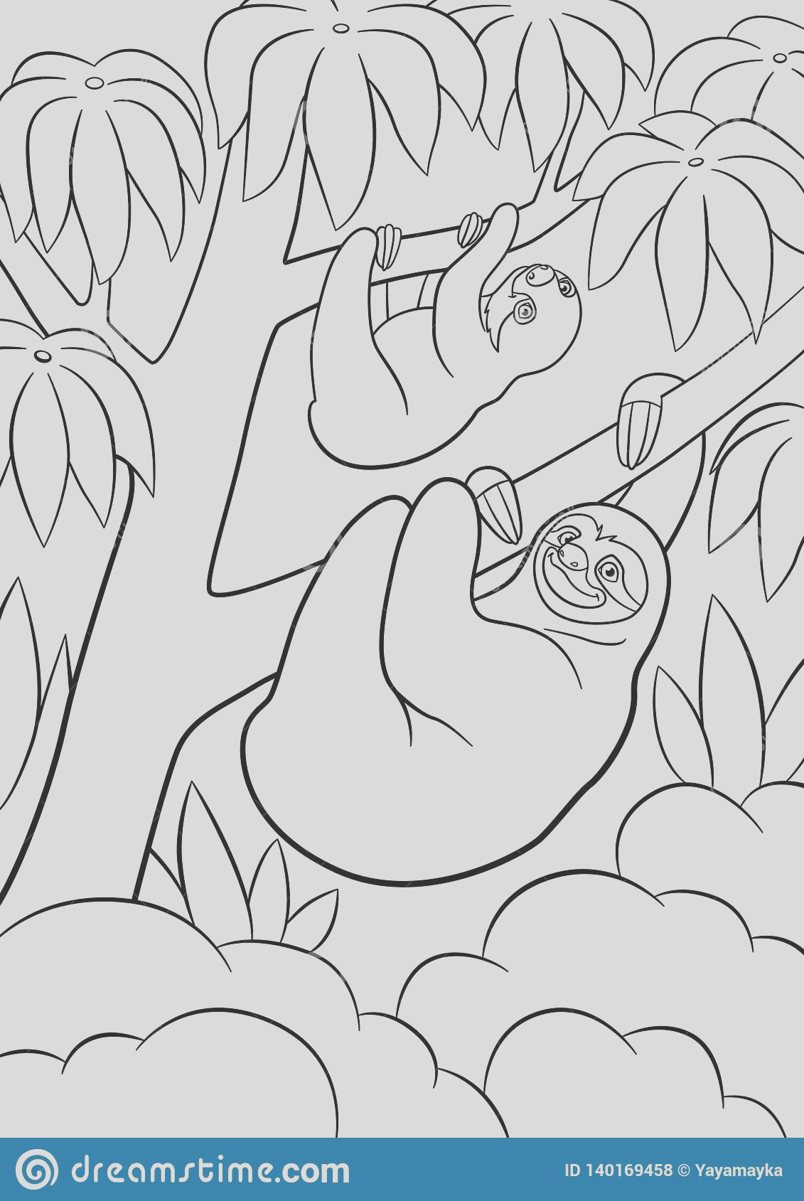 coloring pages mother sloth her little cute baby hangs tree smiles coloring page sloth image