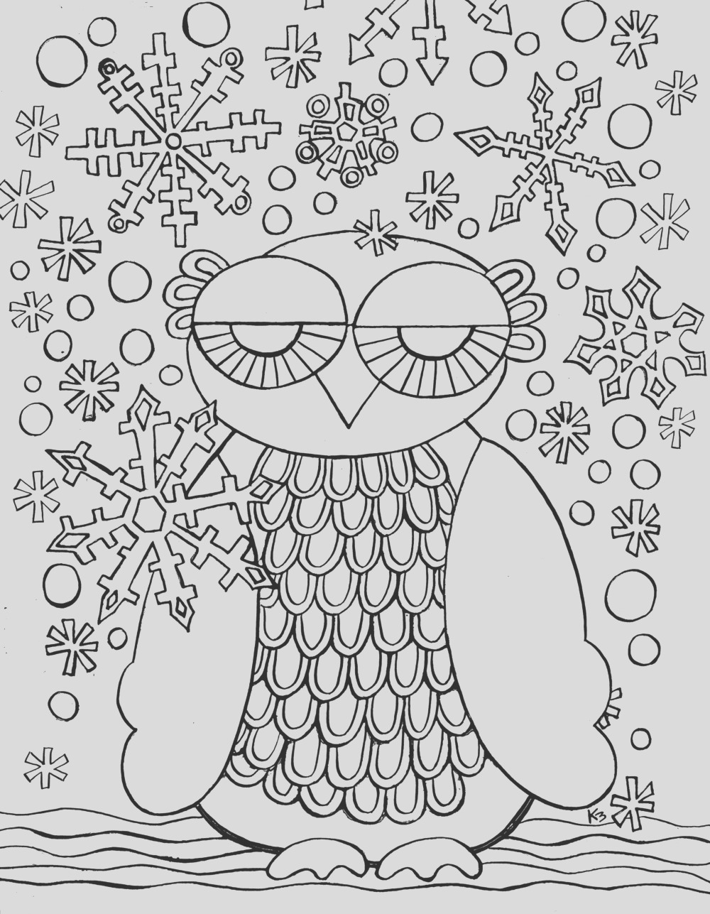 free winter owl coloring page