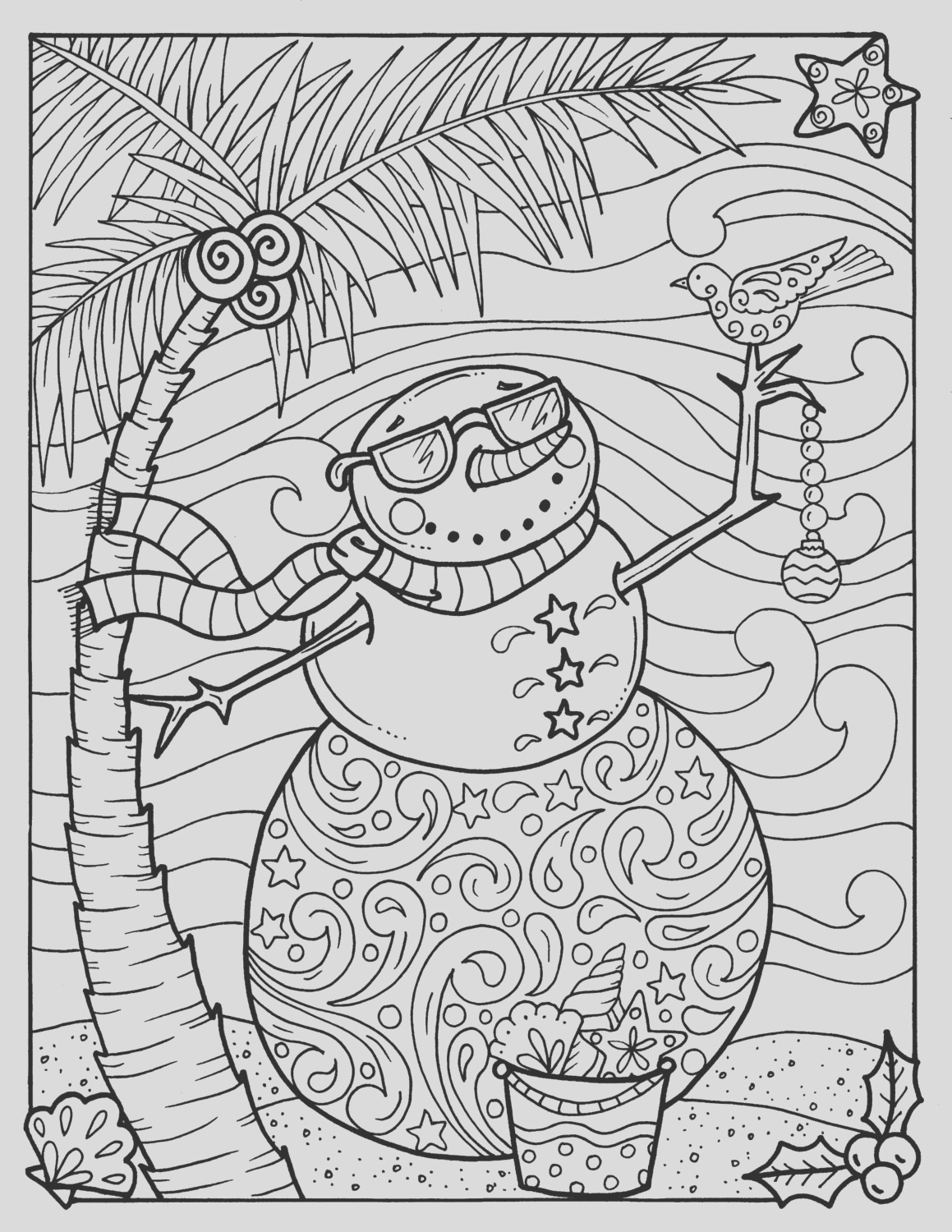 tropical snowman coloring page adult