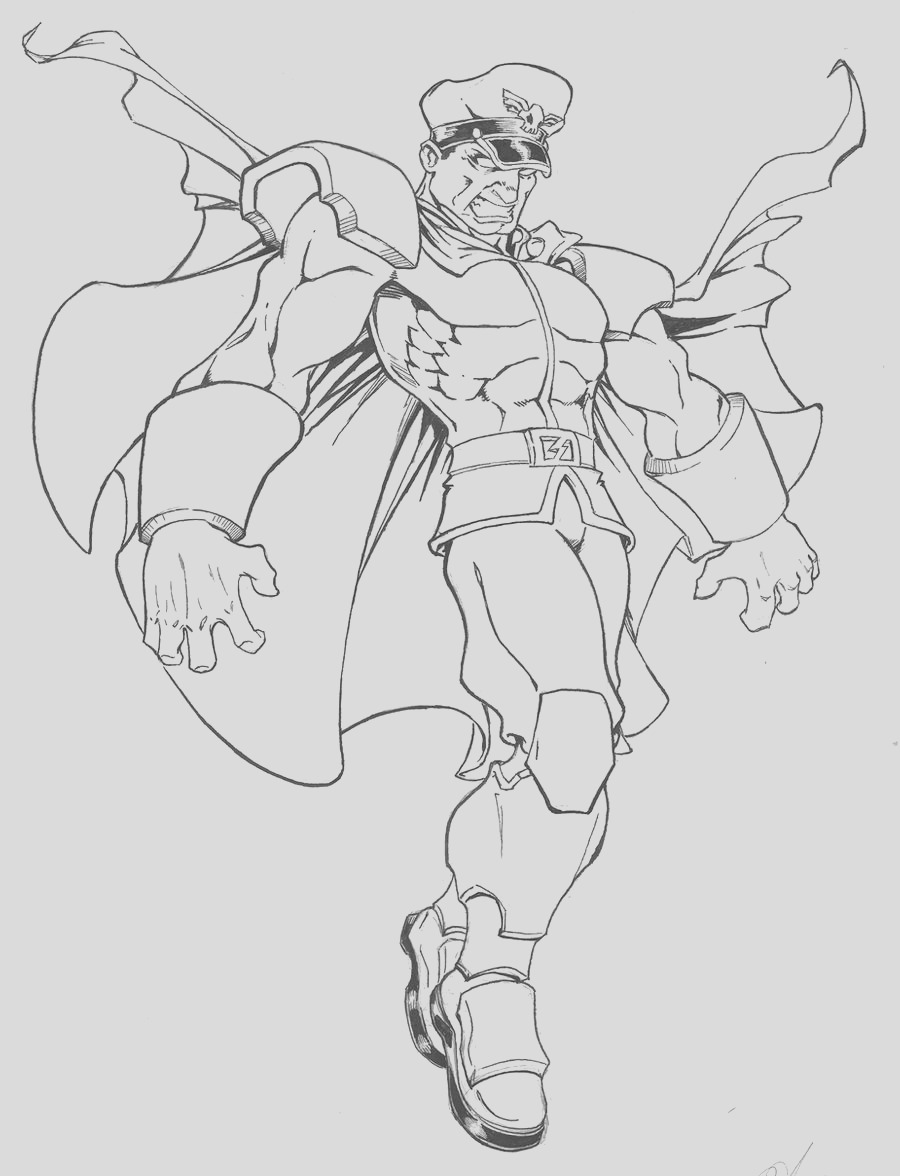 m bison street fighter coloring sketch templates