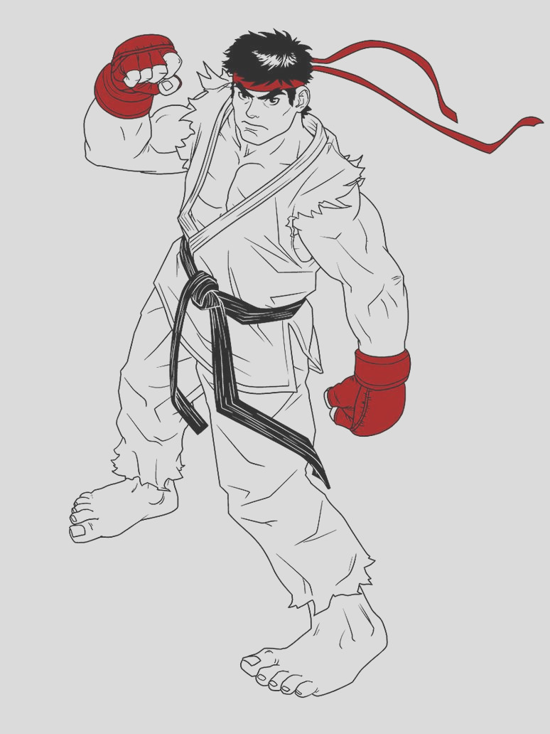 Ryu fan line art limited color