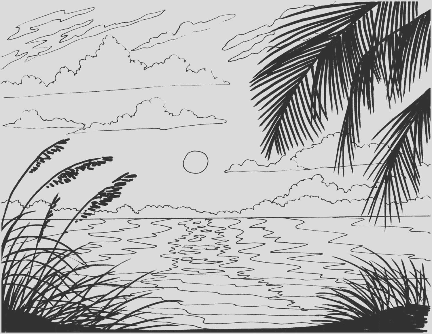beach sunrise coloring page embroidery