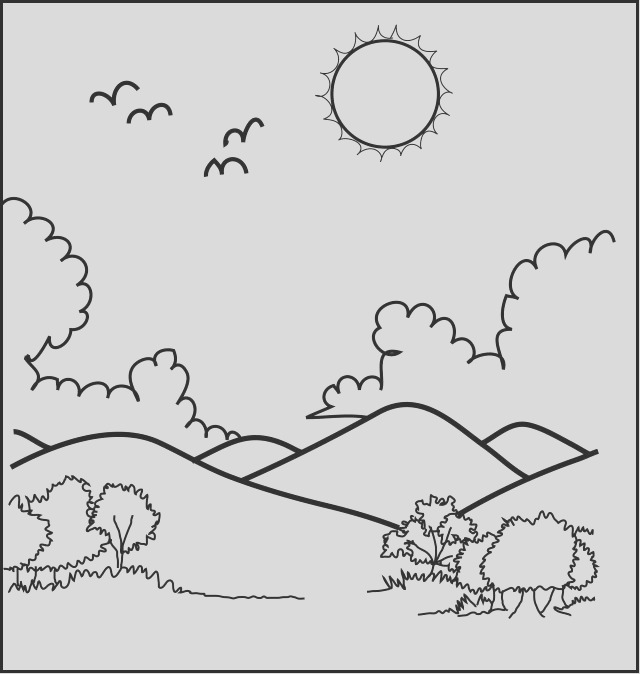 wonderful mountain scenery coloring pages children