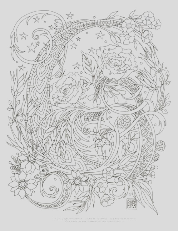 printable coloring page starry swirls