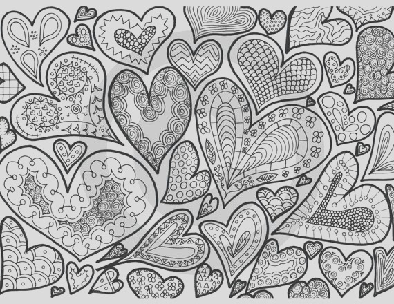 hearts and swirls coloring page
