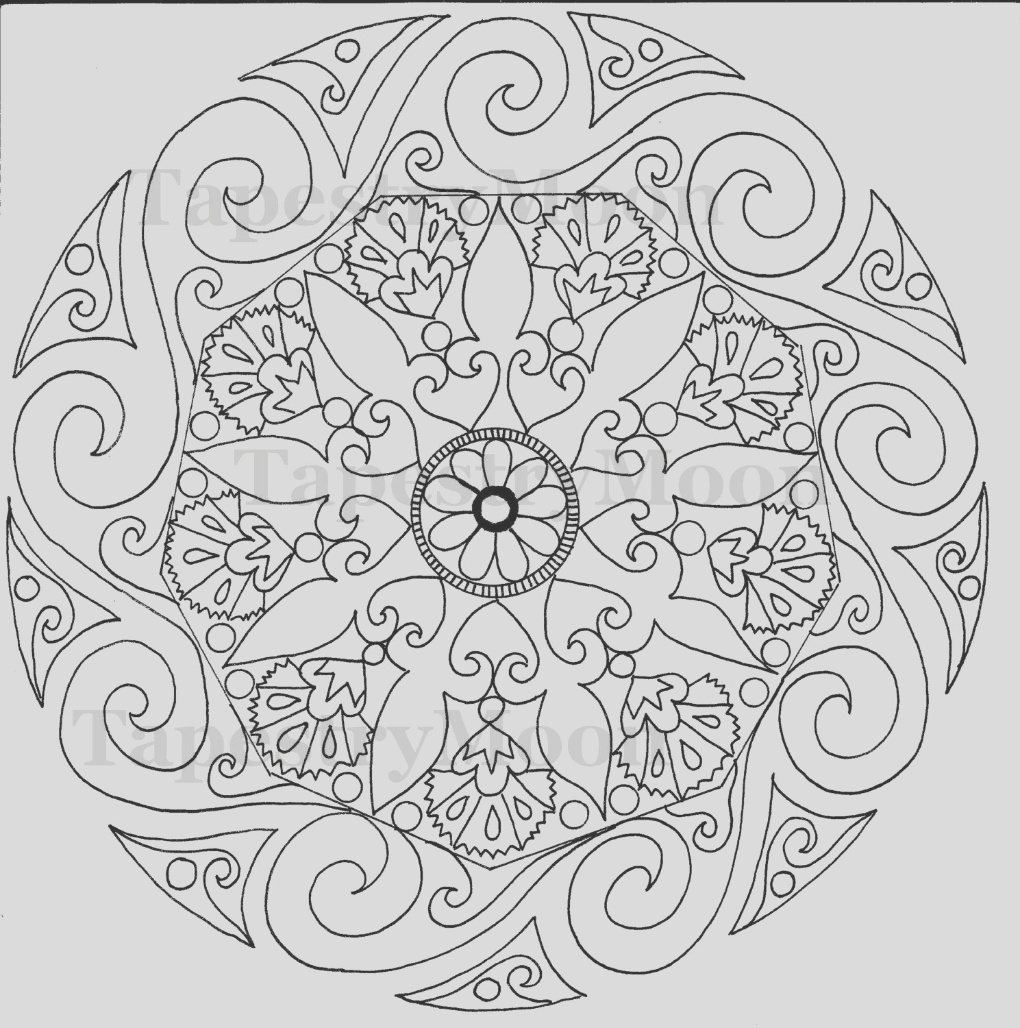 swirl mandala coloring page instant