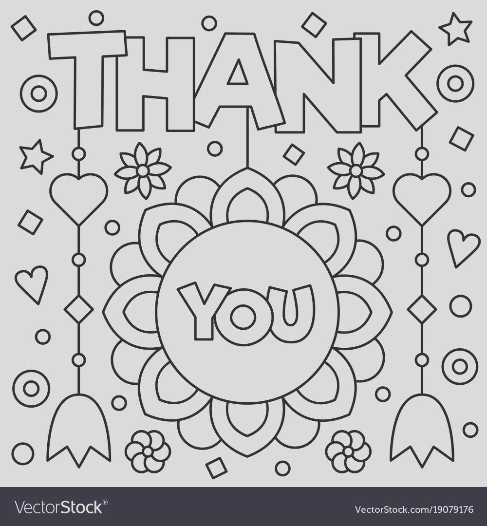 thank you coloring page vector