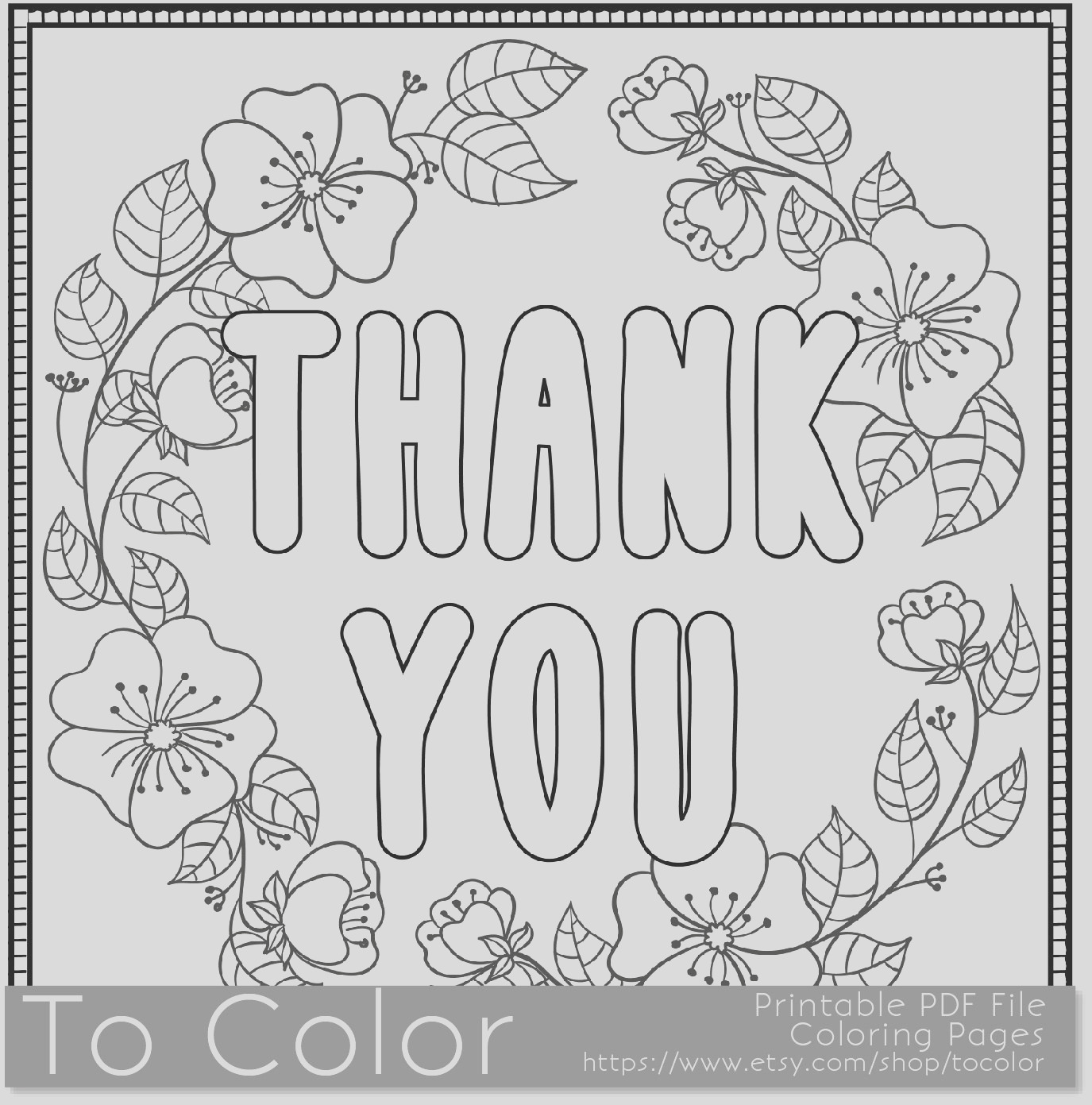 thank you printable coloring page for