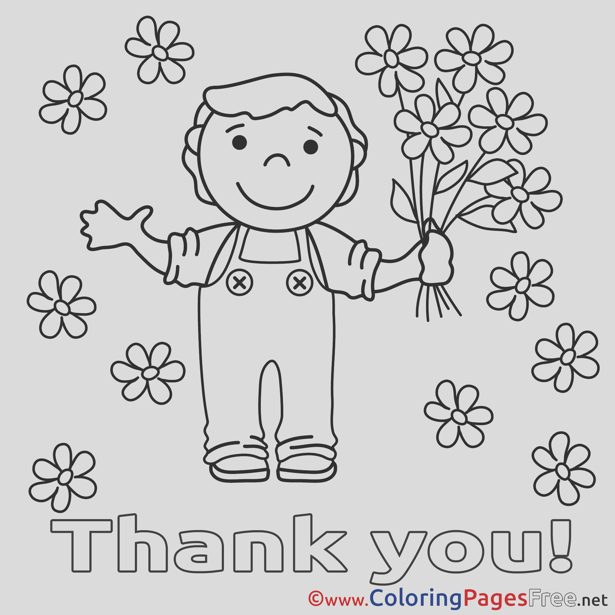 boy flowers printable thank you coloring sheets 5987