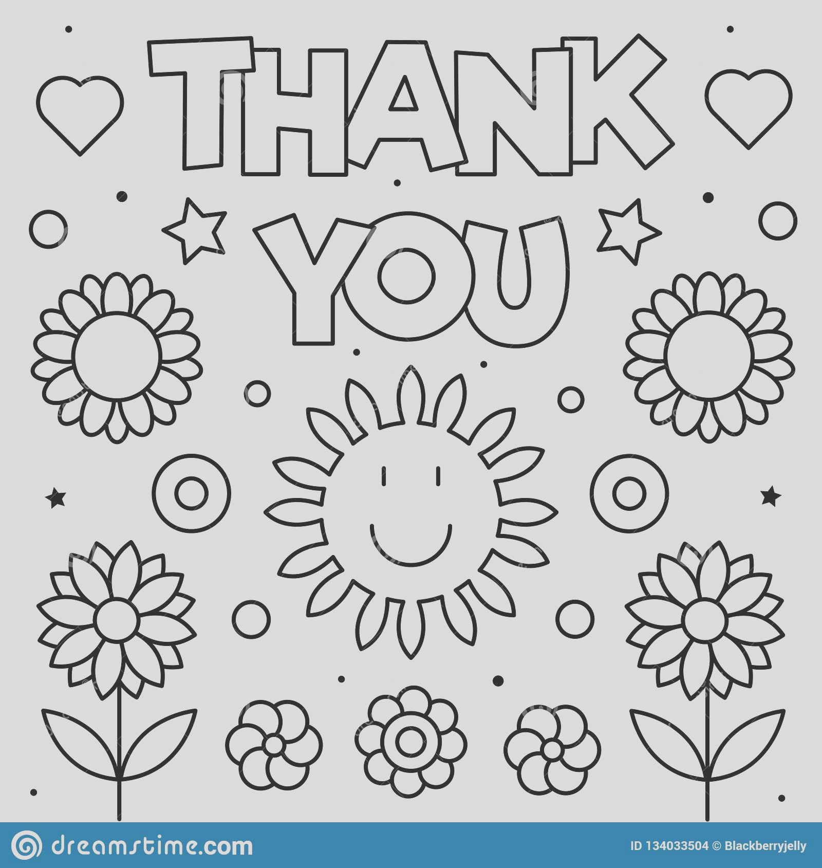 thank you coloring page black white vector illustration thank you coloring page black white vector illustration image