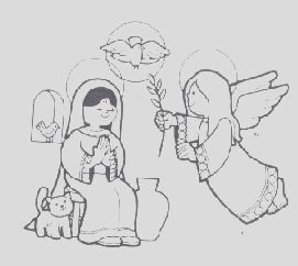 angel visits mary and joseph coloring page