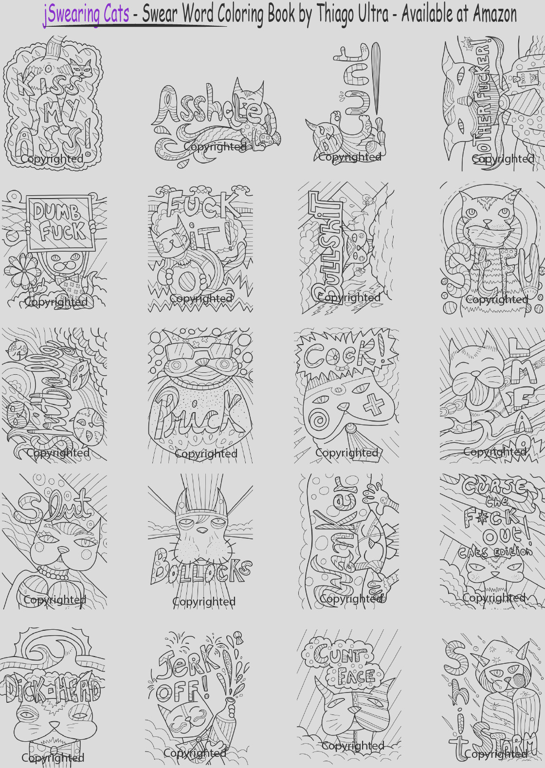 fck it free page sample swearing cats coloring book