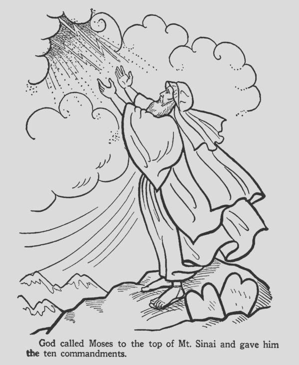 moses on the top of mount sinai receive the ten mandments coloring page