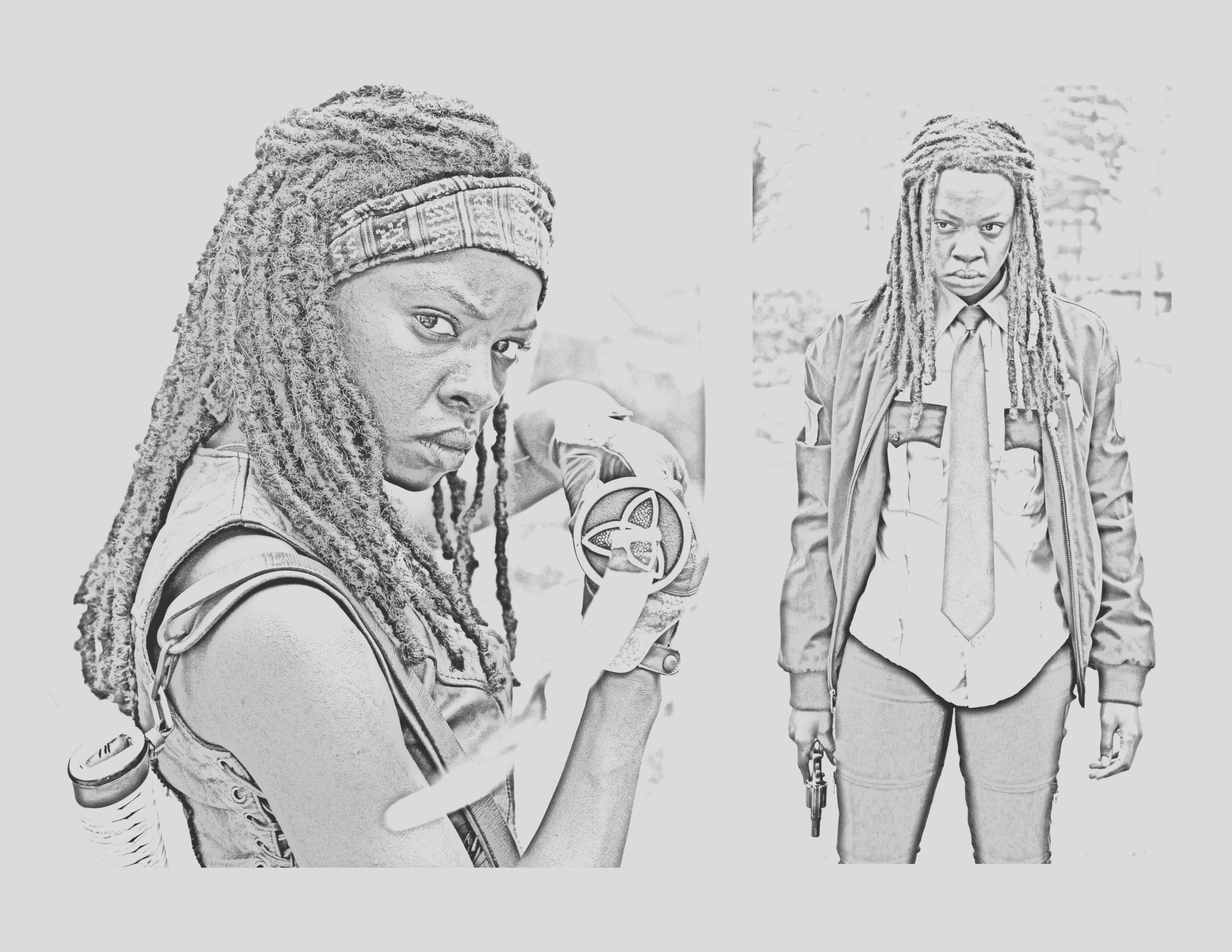 walking dead coloring pages michonne fanart