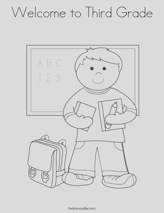 wel e to third grade coloring page