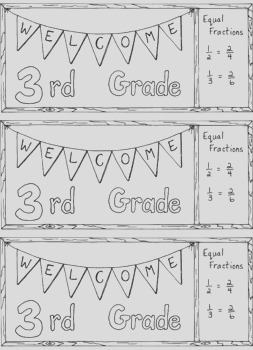 Wel e to Third Grade Bookmark Bulletin Board Back to School Coloring Page