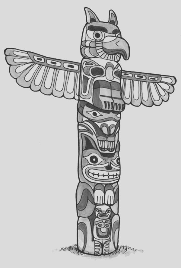 animal figure totem poles coloring page