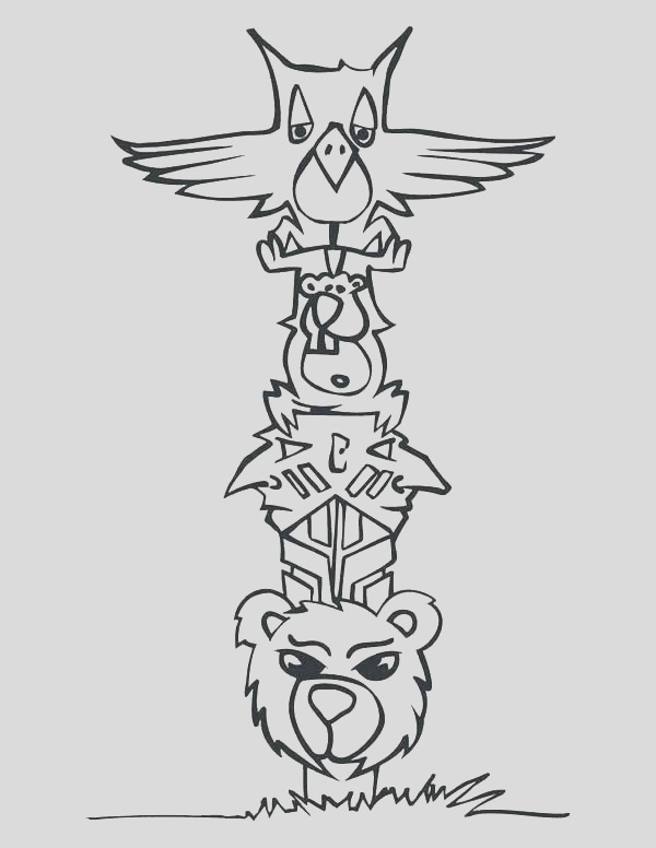 totem pole drawing easy
