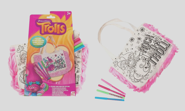 trolls colour your own fringe tote bag