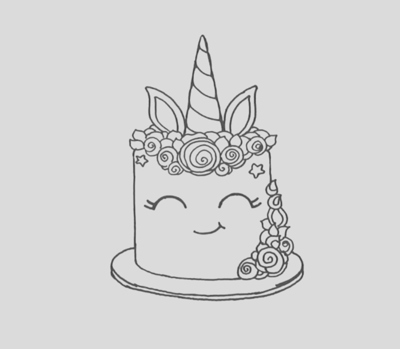 smiling unicorn cake coloring pages