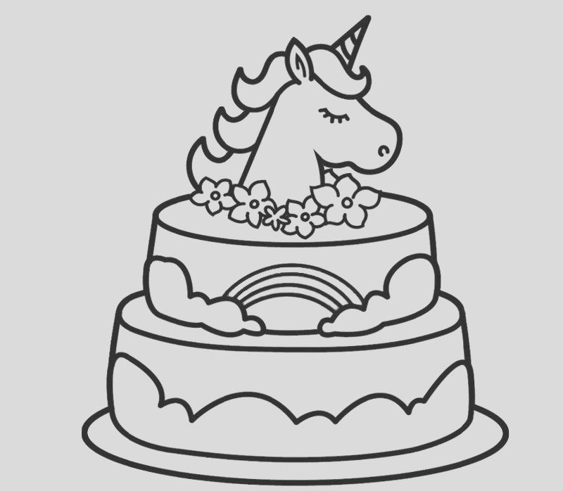 unicorn cake coloring pages activity