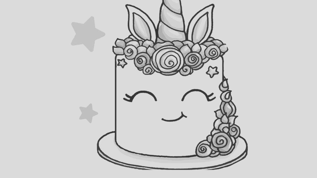 unicorn cake coloring pages black and white